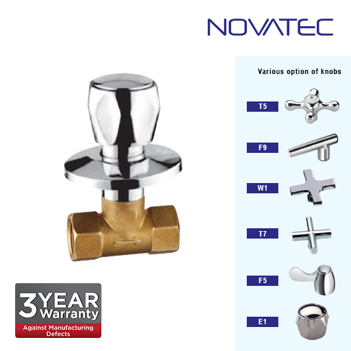 Novatec 1 Inch Concealed Full Turn Stopcock E1-1117A-FT