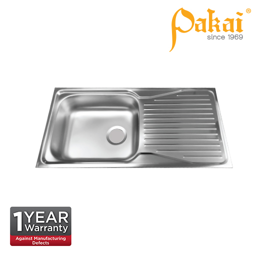 Pakai SUS304 Single Bowl Single Drainer Kitchen Sink with Overflow KSI 3691-5