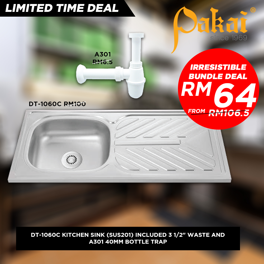 Pakai Single Bowl Single drainer Kitchen Sink Sinki Dapur DT-1060C - NEW YEAR BUNDLE PROMO SET LIMIT