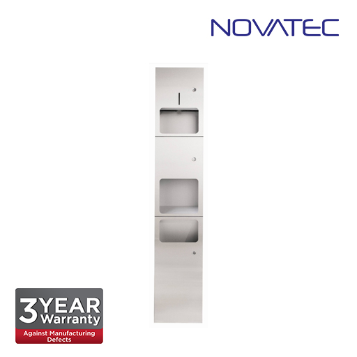 Novatec 3-In-1 Stainless Steel Towel Dispenser With Automatic Hand Dryer & Waste Receptacle. SS-REC-