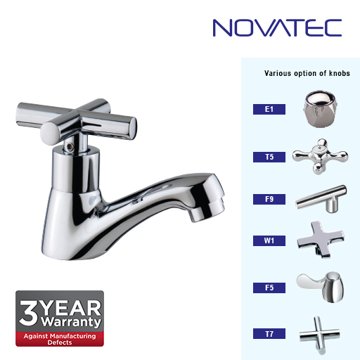 Novatec Chrome Plated Basin Pillar Tap T7-1123