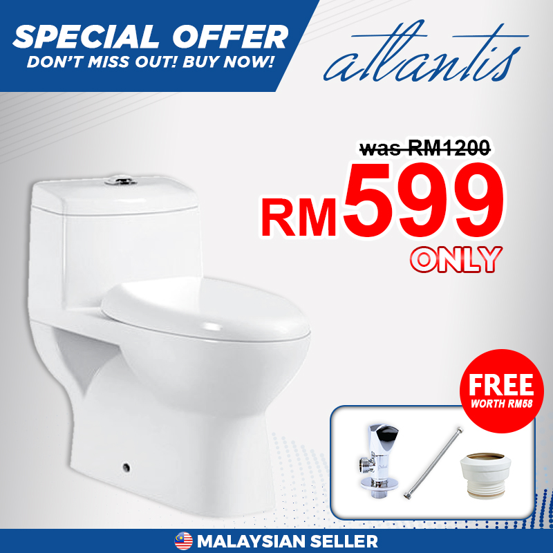 Atlantis Seville One Piece Water Closet (WC) Toilet Bowl, Free 3 Items With Purchase