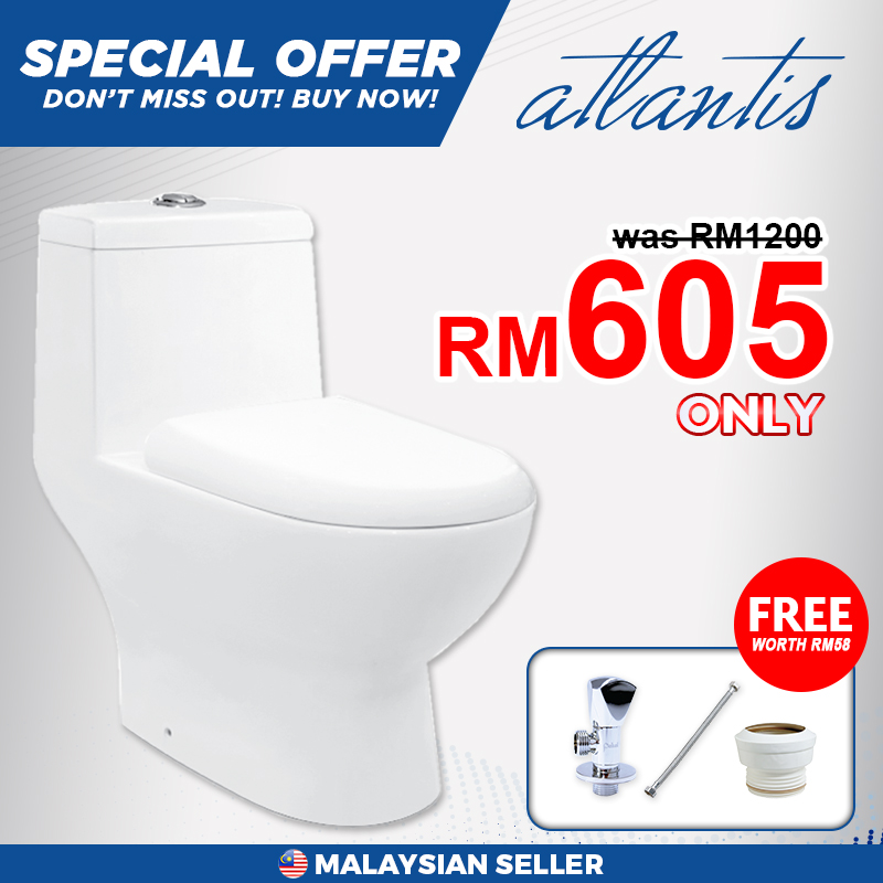 Atlantis Galati 410 One Piece Water Closet (WC) Toilet Bowl, Free 3 Items With Purchase