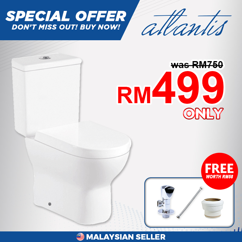 Atlantis Caral Close Couple Wash Down Pedestal Water Closet (WC), Free 3 Items With Purchase