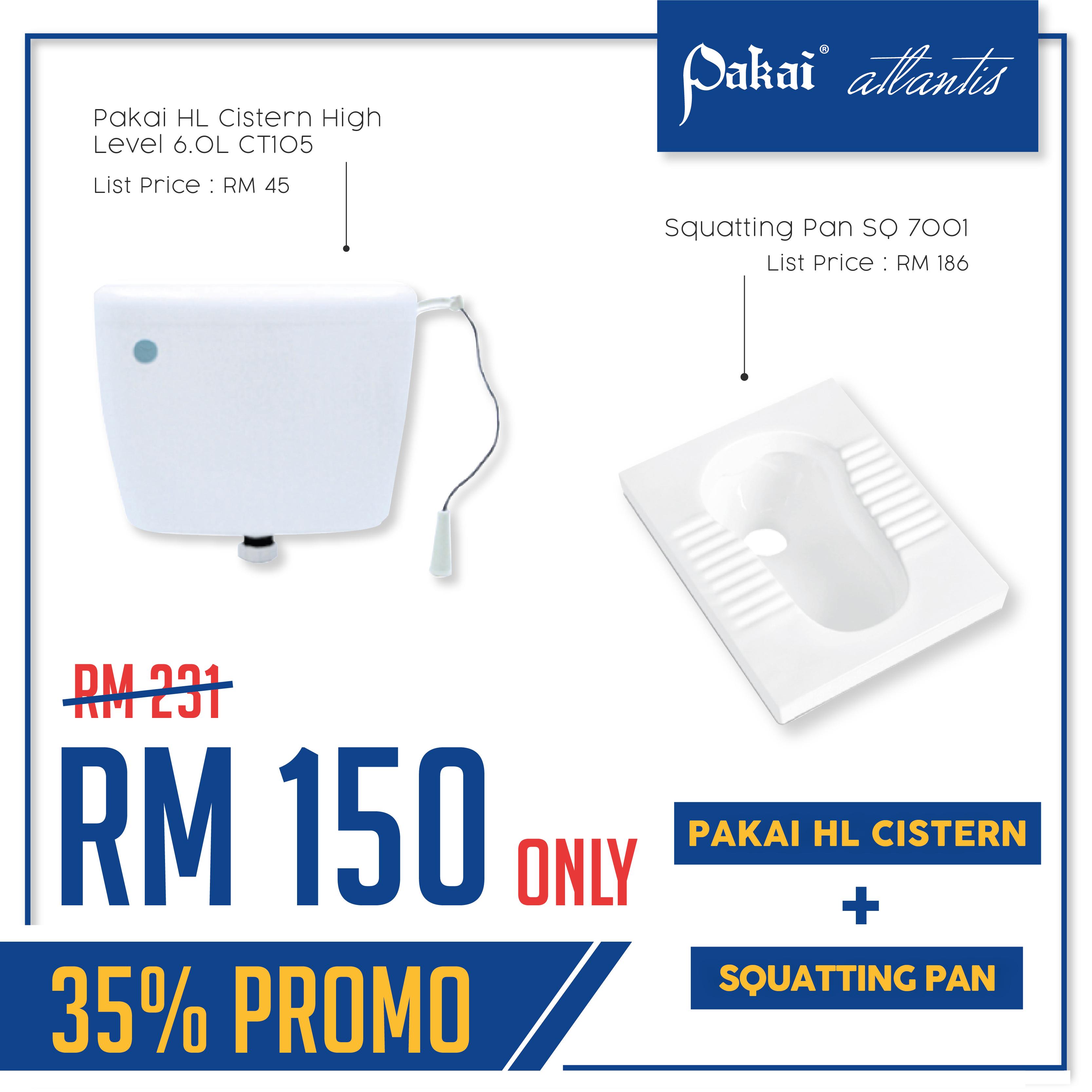 COMBO PROMOTION : Pakai HL Cistern High Level CT105 + Squatting Pan SQ7001 [35% PROMO]